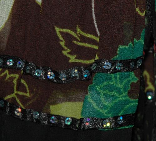 Bohemian Sequins Georgette Garden Black Short Skirt