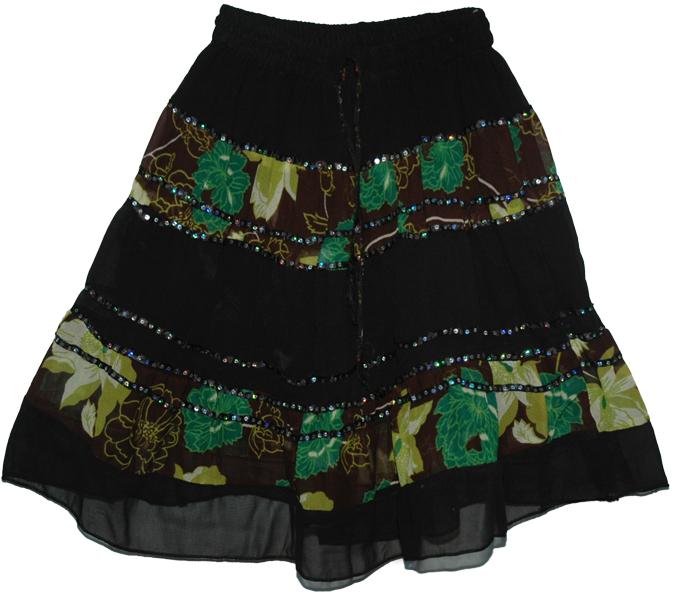 Georgette Sequins Indian Short Skirt, Sequins Georgette Garden Black Short Skirt