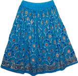 Cerulean Bohemian Floral Short Skirt