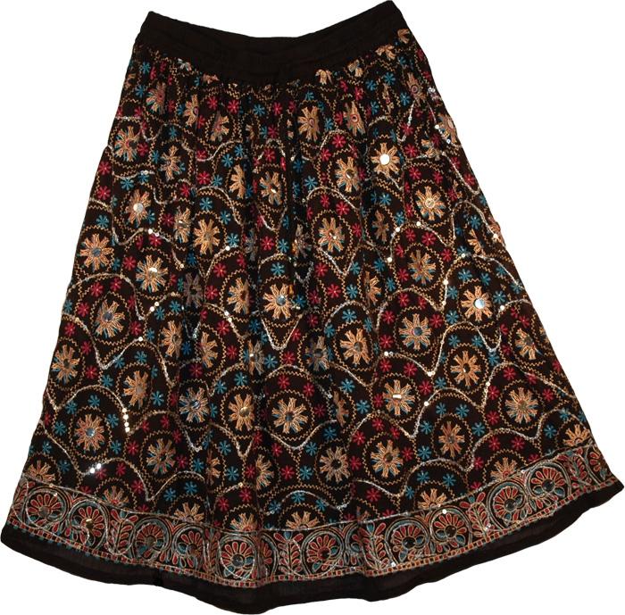 Bohemian Black Himalyan Short Skirt , Zeus Bohemian Floral Short Skirt