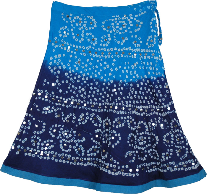 Blue Two Shade Indian Tie Dye Cotton Short Skirt, Deep Waters Cotton Tie Dye Blue Short Skirt