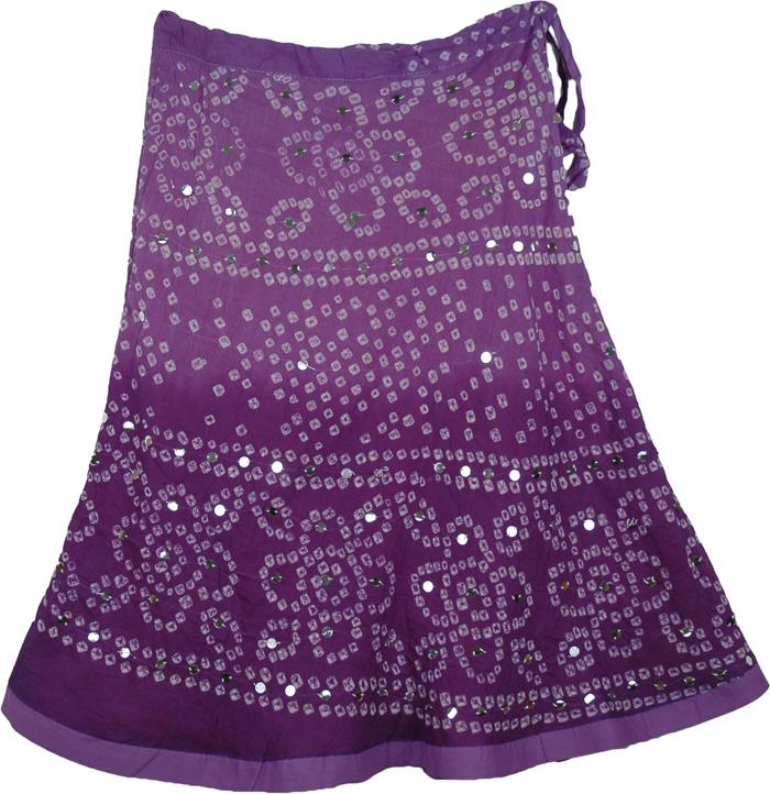 Purple Indian Tie Dye Sequined Skirt, Purple Prose Sequined Tie Dye Short Skirt