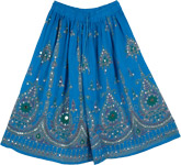 Blue Boho Short Skirt