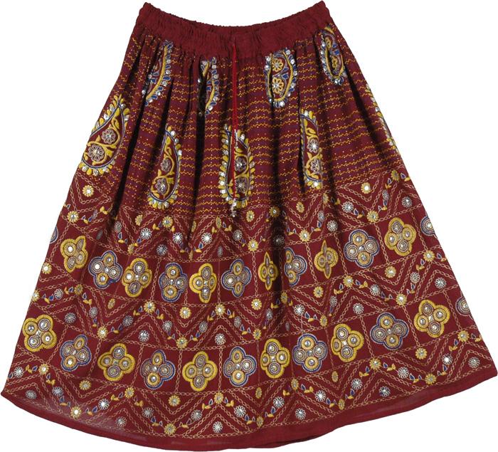 Maroon Short Sequins Skirt , Persian Belly Dance Short Skirt
