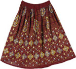 Maroon Short Sequins Skirt  [2844]