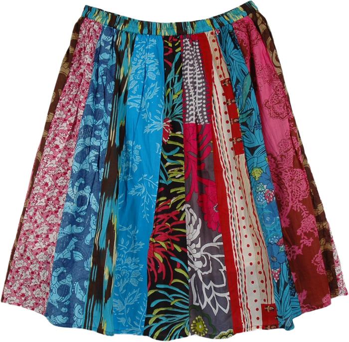 Print Patches Short Skirt, Gypsy Hippie Boho Patchwork Skirt
