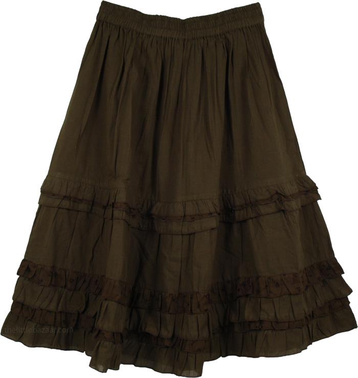 Green Cotton Summer Skirt, Henna Green Eyelet Frills Short Skirt
