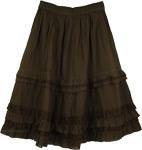 Henna Green Eyelet Frills Short Skirt