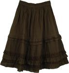 Henna Green Eyelet Frills Short Skirt