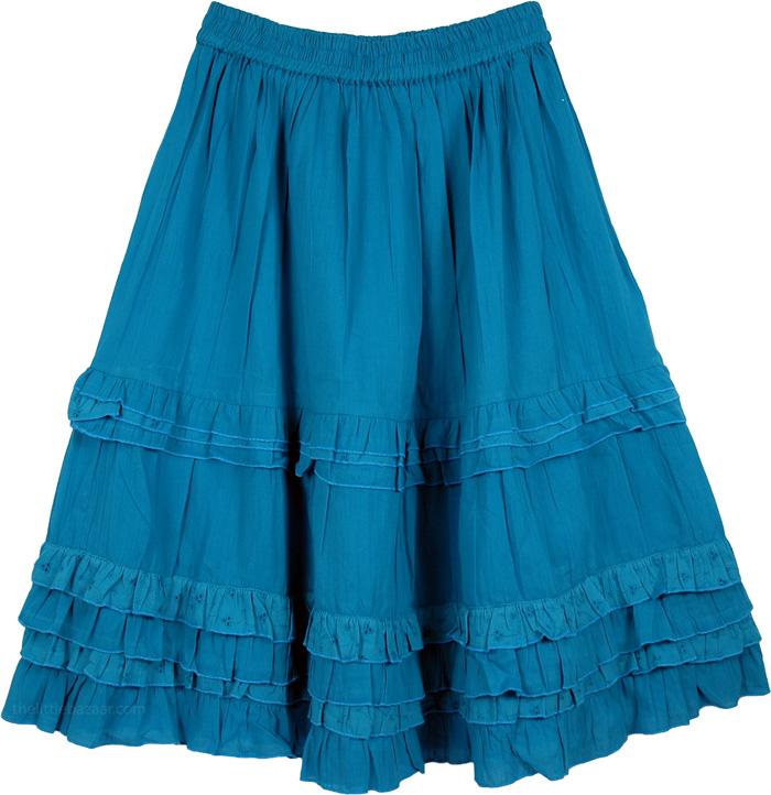 Blue Cotton Summer Skirt, Turquoise Blue Eyelet Frills Skirt