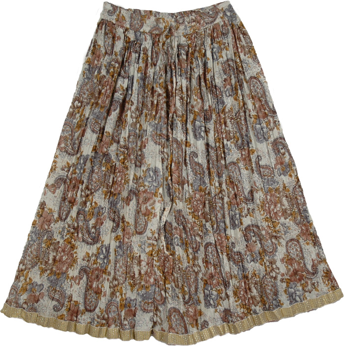 Crinkled Grey Flower Pattern Skirt, Off White Grey Shimmer Womens Skirt