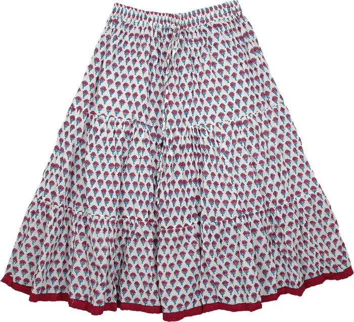 White Short Skirt with Burgundy Flowers, Serene White Flower Skirt