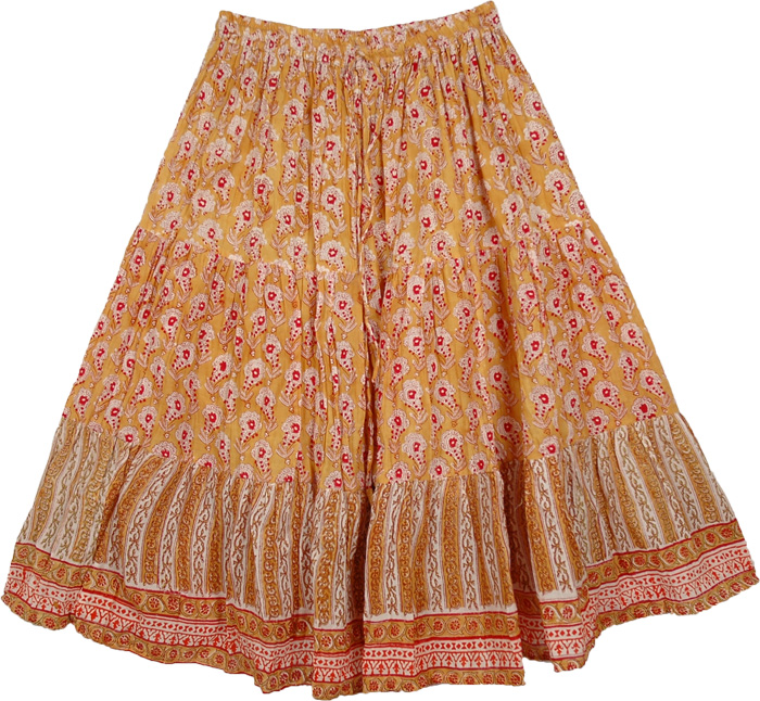 Floral Short Skirt in Light Orange, Fire Bush Short Cotton Floral Skirt