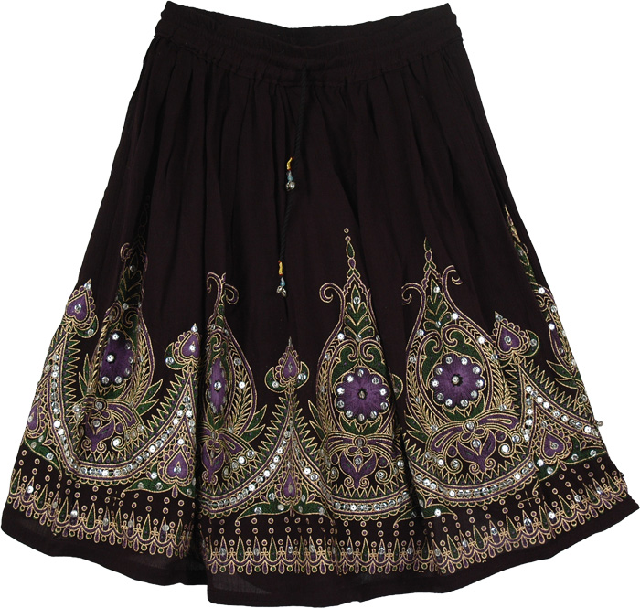 Sequined Purple Cotton Short Skirt in Black, Purple Pearls Black Short Skirt