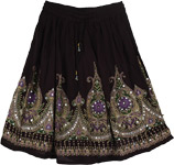 Purple Pearls Black Short Skirt