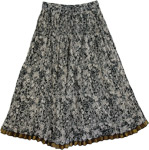 Crinkled Black Flower Pattern Skirt [3366]