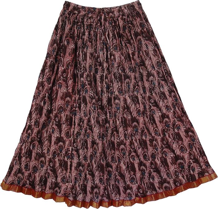 Crinkled Maroon Peacock Pattern Skirt, Jon Merlot Boho Crinkled Ladies Short Skirt