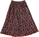 Crinkled Maroon Peacock Pattern Skirt [3368]