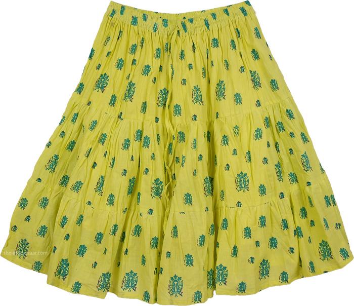 Bright Yellow Short Skirt, Amazon Yellow Cotton Short Skirt