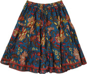 Blumine Floral Cotton Print Short Skirt