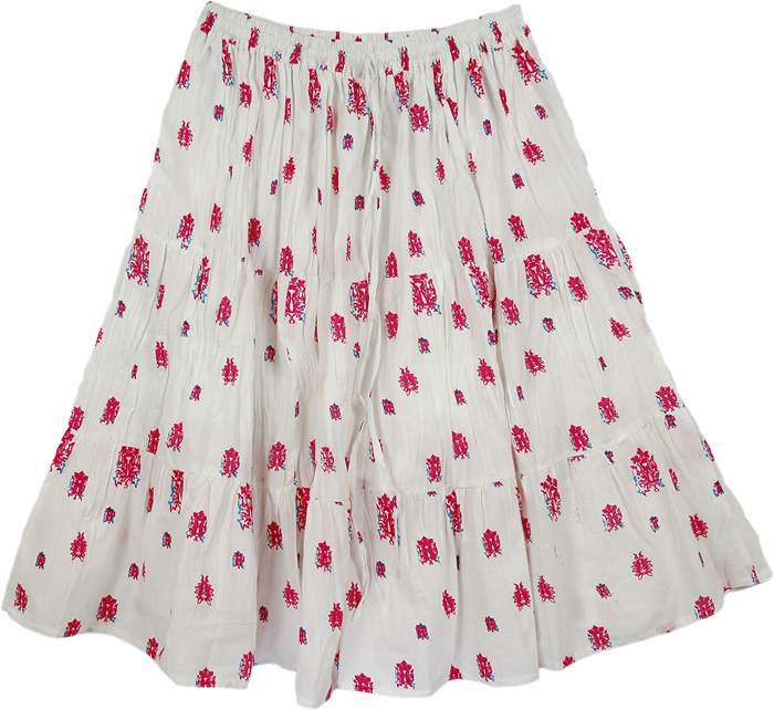 White Flowers Short Skirt, Petals White Cotton Casual Skirt