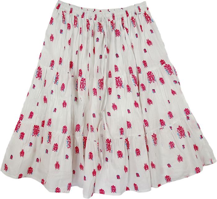 White Flowers Short Skirt, Petals White Cotton Casual Skirt