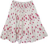 Petals White Cotton Casual Skirt