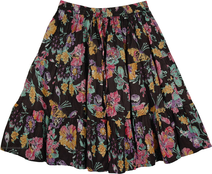 Cotton Black Print Long Skirt, Thunder Black Floral Cotton Short Skirt