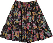 Thunder Black Floral Cotton Short Skirt