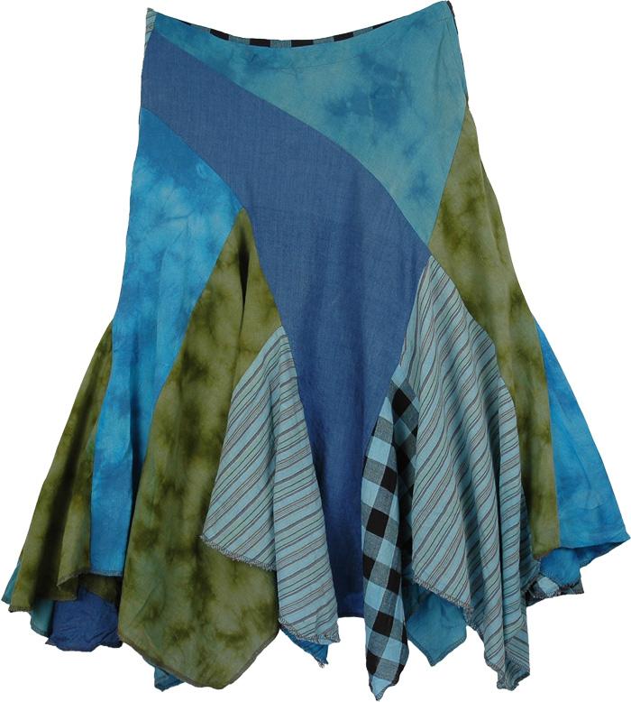 Blue Colors Uneven Short Skirt, Cheery Blue Bohemian Fringed Skirt