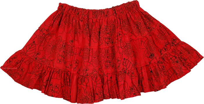 Very Short Red Summer Skirt, Milano Red Short Mini Skirt