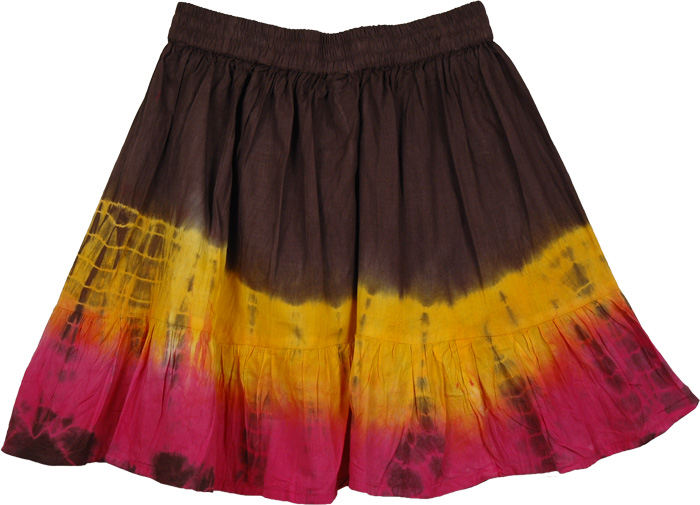 Orange Pink Fashion Short Skirt, Flames Trendy Cotton Beachy Skirt
