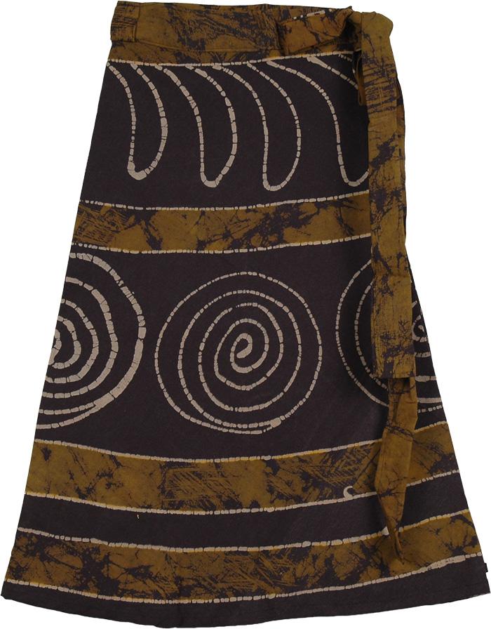 Choco Brown Batik Wrap Skirt, Pickled Bean Wrap Short Skirt
