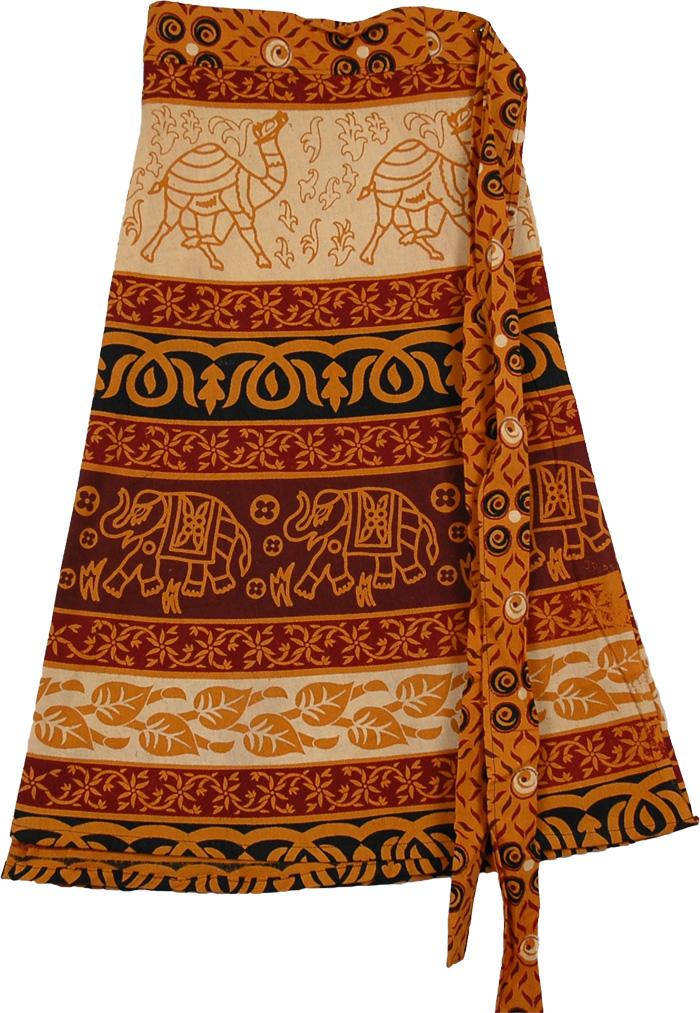 Orange Patterns Short Length Skirt, Tenn Animal Wrap Short Skirt