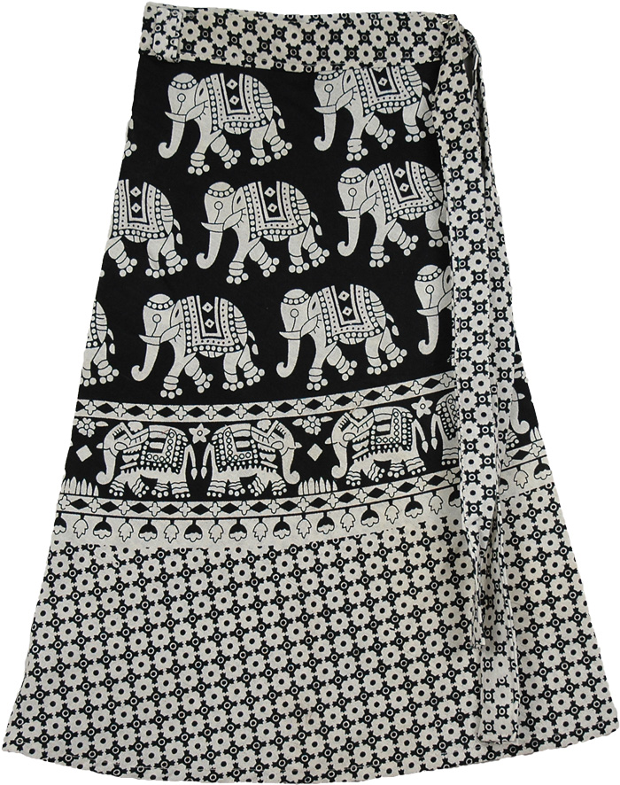 Olifant Black White Wrap Short Skirt