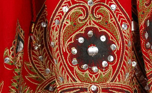 Red Sequin Short Belly Dancing Skirt