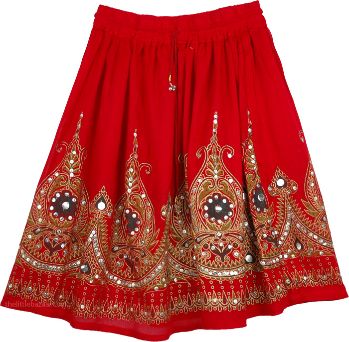 Sequined short skirt in red, Red Sequin Short Belly Dancing Skirt