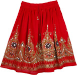 Sequined short skirt in red [3474]