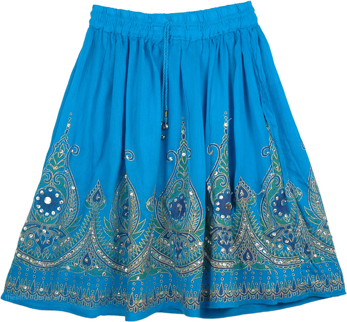 Sequined Short Skirt In Blue, Blue Sequin Short Dancing Skirt