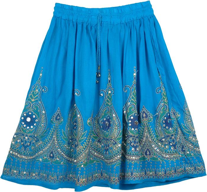 Sequined Short Skirt In Blue, Blue Sequin Short Dancing Skirt