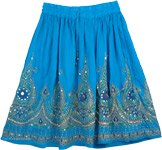 Sequined Short Skirt In Blue [3475]