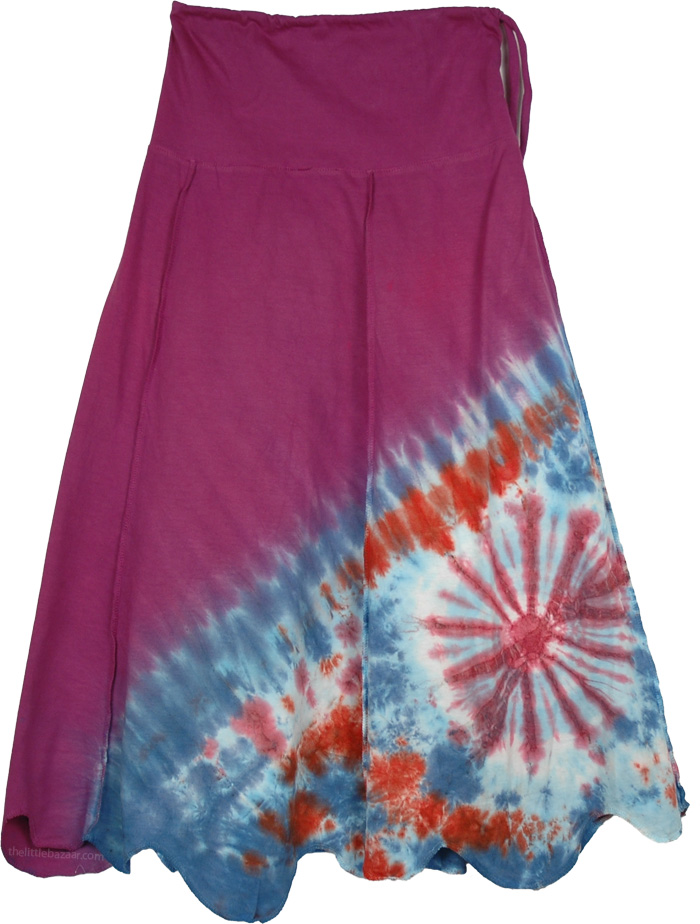 Fashion Side Tie Dye Skirt, Night Shadz Tie Dye Fashion Skirt
