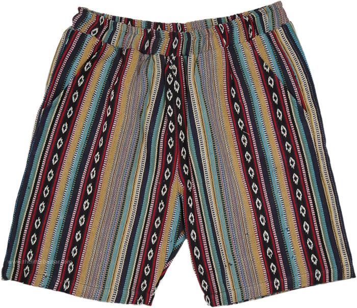Himalayan Inspired Woven Cotton Boho Shorts, Hand Woven Colorful Cotton Boho Shorts
