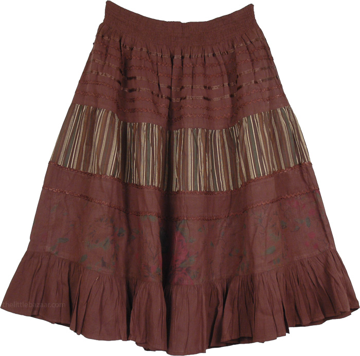 Brown Cotton Skirt with Decor, Alcippe Brown Short Cotton Skirt