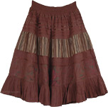 Brown Cotton Skirt with Decor [4003]