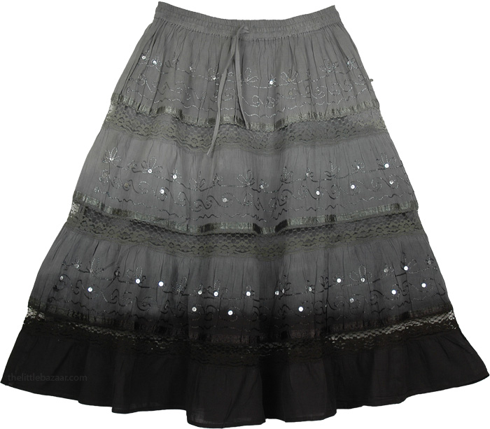Black Grey Sequins Decorated Skirt, Grey Black Ombre Cotton Skirt