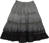 Black Grey Sequins Decorated Skirt [4009]