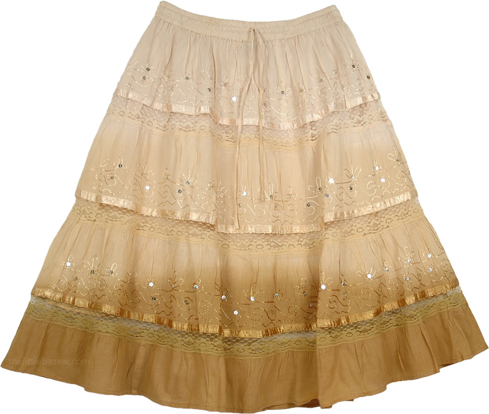 Cream Brown Decorated Short Skirt, Cameo Cape Ombre Cotton Skirt