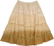 Cream Brown Decorated Short Skirt [4010]