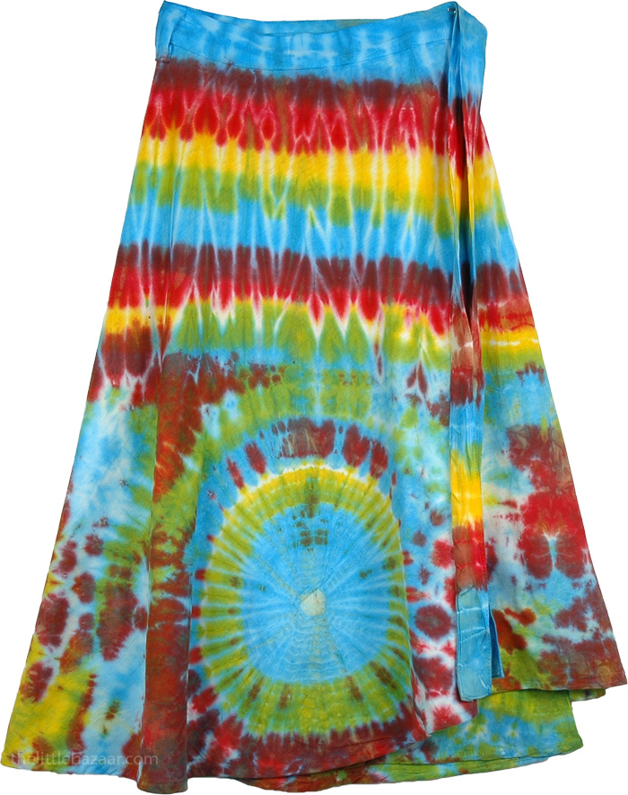 Bright Colorful Tie Dye Short skirt , Blue Flares Cotton Wrap Around Short Skirt